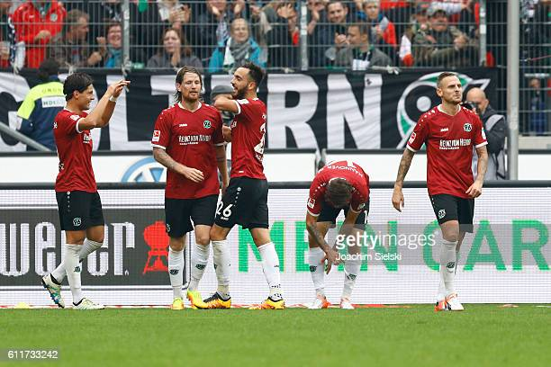 Miiko Albornoz Stefan Strandberg Kenan Karaman Martin Harnik and Marvin Bakalorz of Hannover celebrate their first goal during the Second Bundesliga...