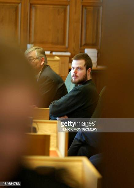 Mijailo Mijailovic confessed killer of Swedish Foreign Minister Anna Lindh sits in court as the doors close 16 March 2004 in Stockholm The defence...