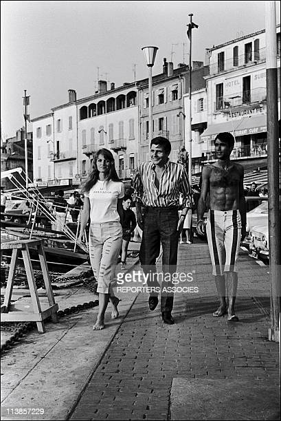 Mijanou Bardot with husband and Gunther Sachsin Saint Tropez in 1965