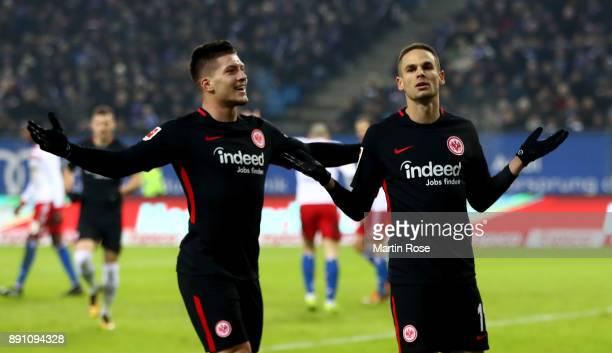 Mijat Gacinovic of Frankfurt celebrates after he scores the 2nd goal during the Bundesliga match between Hamburger SV and Eintracht Frankfurt at...
