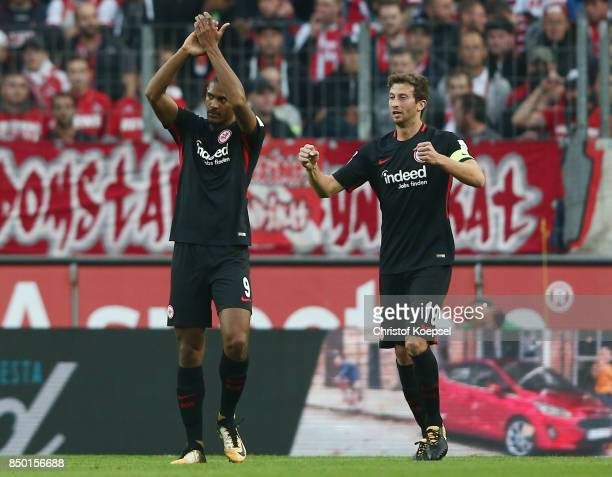 Mijat Gacinovic of Frankfurt celebrates after the scored his teams first goal form the penalty spot to make it 10 with David Abraham of Frankfurt...