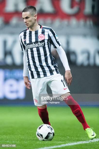 Mijat Gacinovic of Frankfurt controls the ball during the Bundesliga match between Eintracht Frankfurt and Hamburger SV at CommerzbankArena on March...