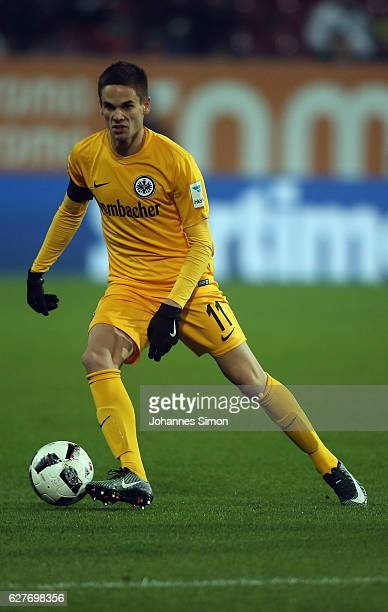 Mijat Gacinovic of Frankfurt in action during the Bundesliga match between FC Augsburg and Eintracht Frankfurt at WWK Arena on December 4 2016 in...
