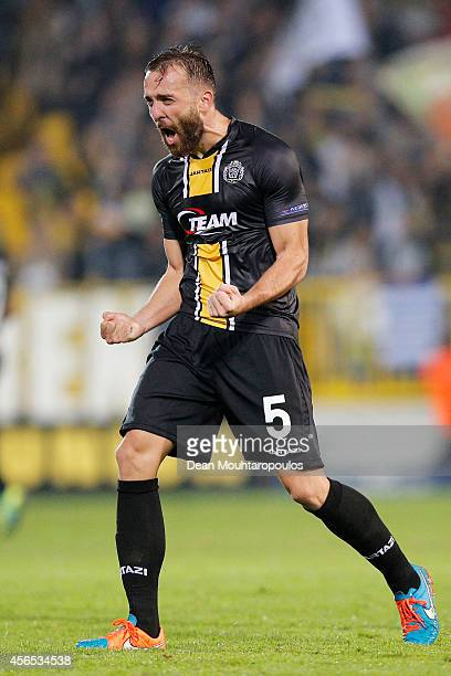Mijat Maric of Lokeren celebrates victory after the Group L UEFA Europa League match between Koninklijke Sporting Club Lokeren Oost Vlaanderen and FC...