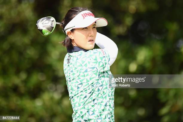 MiJeong Jeon of South Korea hits her tee shot on the 2nd hole during the first round of the Munsingwear Ladies Tokai Classic 2017 at the Shin Minami...