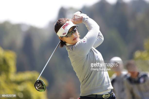 Mi-Jeong Jeon of South Korea on the fifth hole in the first round during the T-Point Ladies Golf Tournament at the Wakagi Golf Club on March 17, 2017...