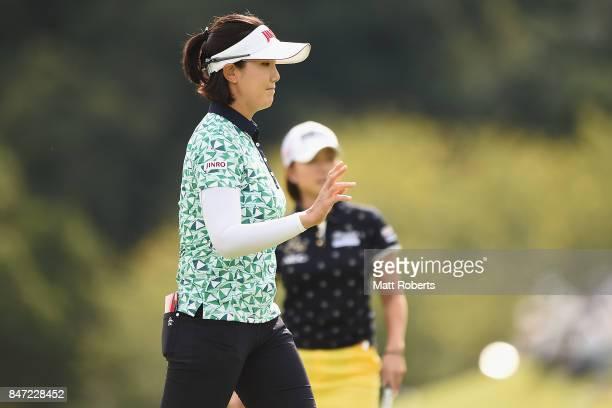 MiJeong Jeon of South Korea reacts after her putt on the first green during the first round of the Munsingwear Ladies Tokai Classic 2017 at the Shin...