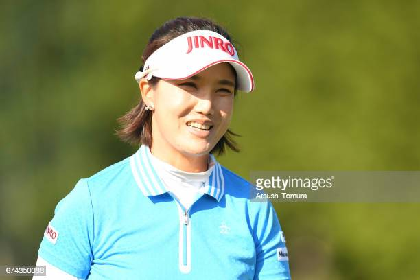 MiJeong Jeon of South Korea smiles during the first round of the CyberAgent Ladies Golf Tournament at the Grand Fields Country Club on April 28 2017...