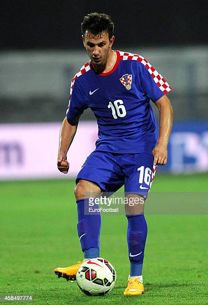 Mijo Caktas of Croatia in action during the UEFA U21 Championship Playoff Second Leg match between Croatia and England at the Stadion Hnk Cibalia on...