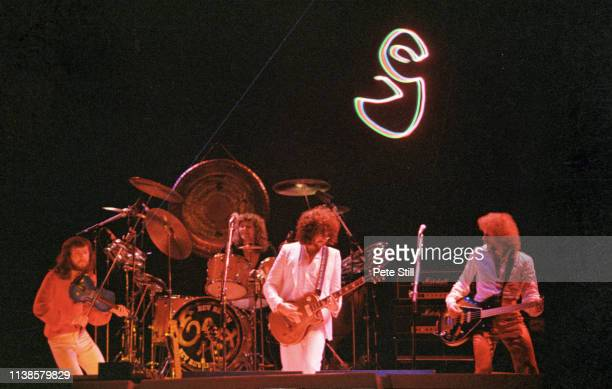 Mik Kaminski, Bev Bevan, Jeff Lynne and Kelly Groucutt of The Electric Light Orchestra perform on stage at Wembley Arena on June 9th, 1978 in London,...