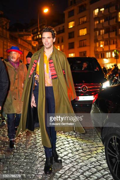 Mika and Christian Louboutin are seen outside Valentino during Paris Fashion Week Haute Couture Spring/Summer 2020 on January 22 2020 in Paris France