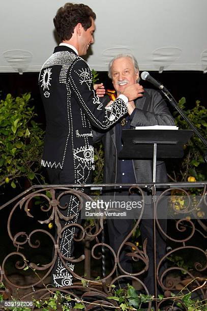 Mika and Giorgio Moroder attend McKim Medal Gala In Rome at Villa Aurelia on June 9 2016 in Rome Italy