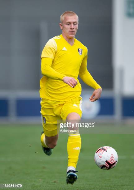 Mika Biereth of Fulham during the U18 Premier League match between Manchester City and Fulham at The Academy Stadium on May 22, 2021 in Manchester,...