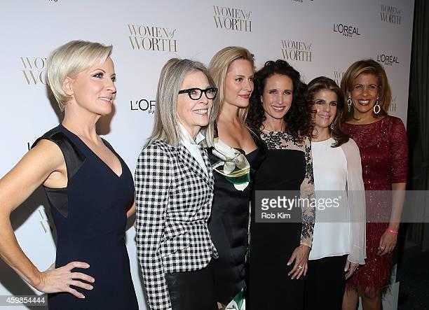 Mika Brzezinski Diane Keaton Aimee Mullins Andie MacDowell Karen T Fondu and Hoda Kotb attend L'Oreal Paris' Ninth Annual Women Of Worth Celebration...