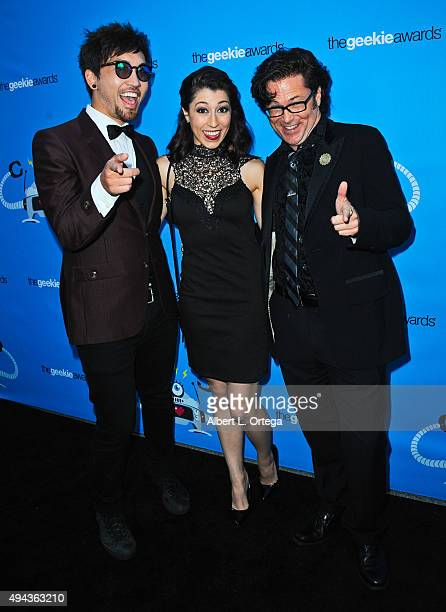 Mika Diva Alyssa Onofreo and Trip Hope arrive for the 3rd Annual Geekie Awards held at Club Nokia on October 15 2015 in Los Angeles California