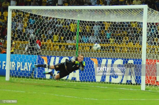 Mika from Portugal stops the third penalty in the penalty shoot out the match between Argentina and Portugal as part of the U20 World Cup Colombia...