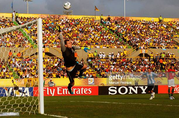 Mika goalkeeper from Portugal blocks a shot during the match between Argentina and Portugal as part of the U20 World Cup Colombia 2011 at Jaime Moron...