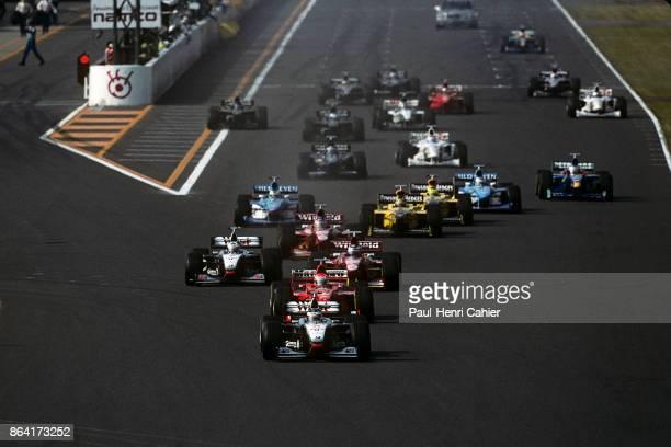 Mika Hakkienn, Eddie Irvine, David Coultard, Heinz-Harald Frentzen, Jacques Villeneuve, Damon Hill, McLaren-Mercedes MP4/13, Ferrari F300,...