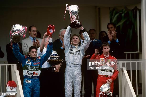 Mika Hakkienn Giancarlo Fisichella Eddie Irvine Grand Prix of Monaco Circuit de Monaco 24 May 1998 Mika Häkkinen celebrates his victory in the 1998...