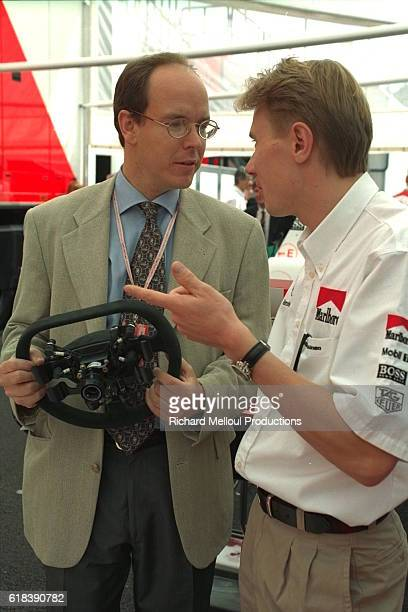 Mika Hakkinen and Prince Albert of Monaco talking shop