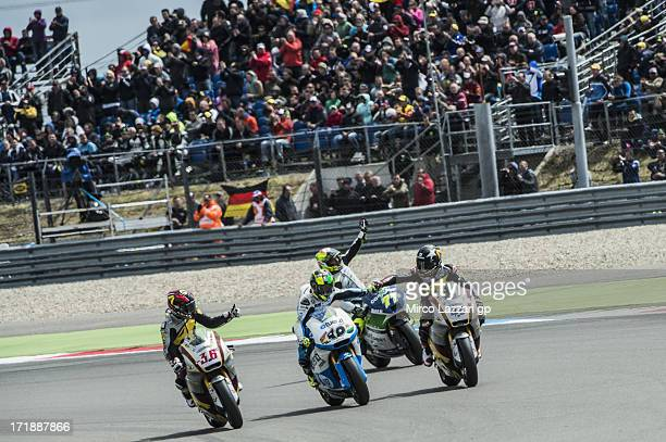 LR Mika Kallio of Finland and Marc VDS Racing Team Pol Espargaro of Spain and Pons 40 HP Tuenti Dominique Aegerter of Switzerland and Technomag...