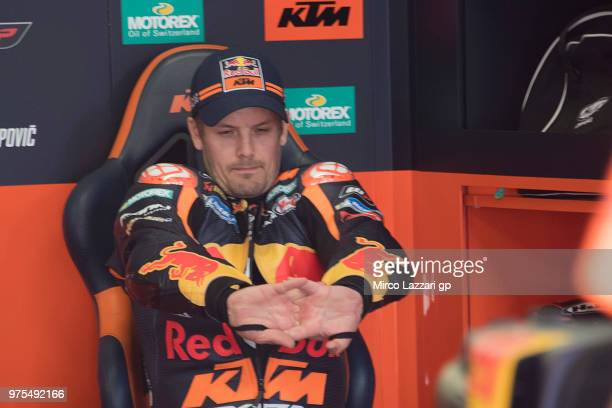 Mika Kallio of Finland and Red Bull KTM Factory Racing prepares to start in box during the MotoGp of Catalunya Free Practice at Circuit de Catalunya...