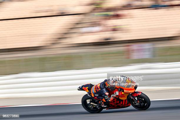 Mika Kallio of Finland and Red Bull KTM Factory Racing rides during free practice for the MotoGP of Catalunya at Circuit de Catalunya on at Circuit...