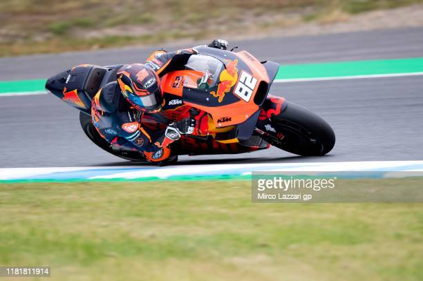 Mika Kallio of Finland and Red Bull KTM Factory Racing rounds the bend during the MotoGP of Japan - Free Practice at Twin Ring Motegi on October 18,...