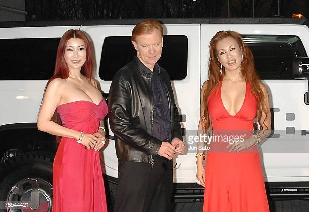Mika Kano actor David Caruso and Kyoko Kano attend a 'CSI Miami' press conference at Park Tower Hall on December 18 2007 in Tokyo Japan