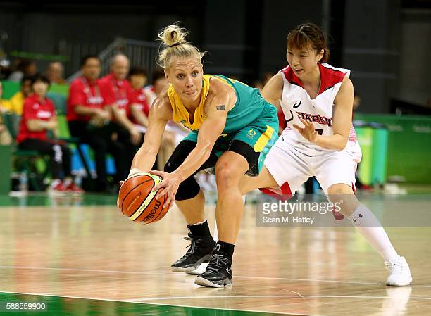 Mika Kurihara of Japan defends Erin Phillips of Australia during a Women's Preliminary Group B match on Day 6 of the Rio 2016 Olympics at the Youth...