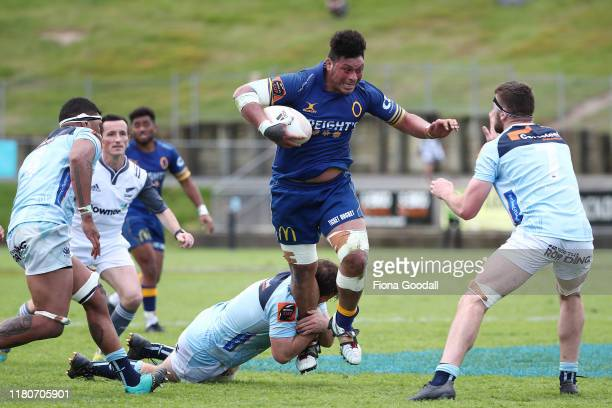 Mika Mafi of Otago is tackled during the round 10 Mitre 10 Cup match between Northland and Otago at Semenoff Stadium on October 13 2019 in Whangarei...