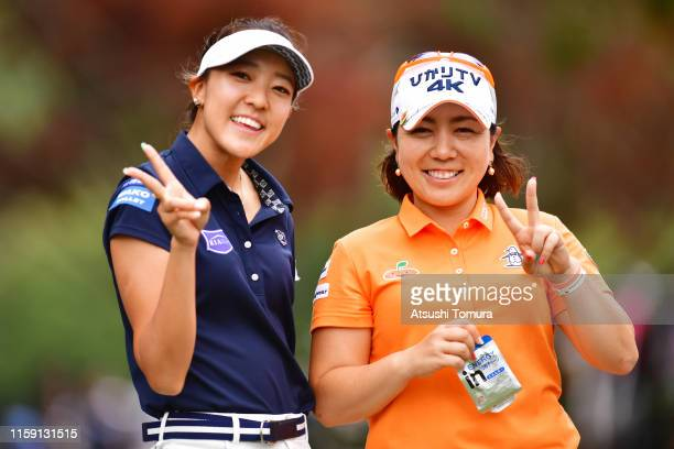 Mika Miyazato of Japan and Eimi Koga of the United States pose during the final round of the Earth Mondamin Cup at the Camellia Hills Country Club on...