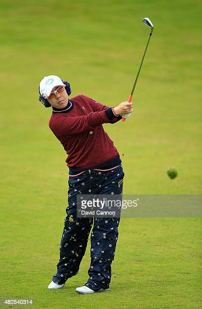 Mika Miyazato of Japan hits her 2nd shot on the 17th hole during the Second Round of the Ricoh Women's British Open at Turnberry Golf Club on July 31...