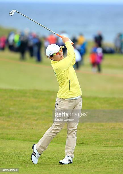 Mika Miyazato of Japan hits her 2nd shot on the 2nd hole during the Final Round of the Ricoh Women's British Open at Turnberry Golf Club on August 2...