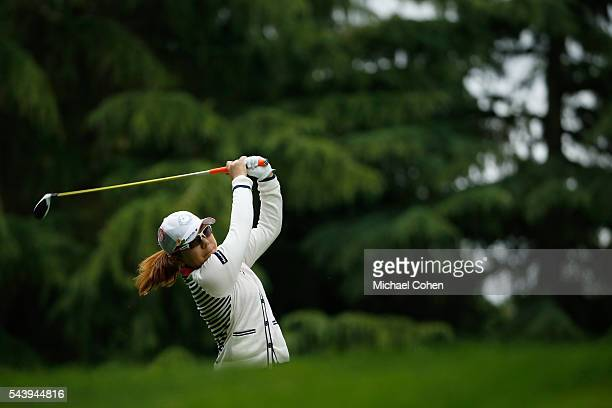 Mika Miyazato of Japan hits her drive on the 11th hole during the first round of the Cambia Portland Classic held at Columbia Edgewater Country Club...