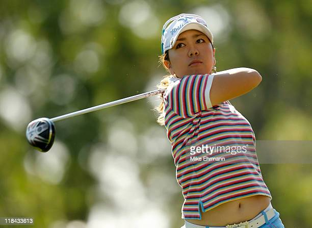 Mika Miyazato of Japan hits her tee shot on the 13th hole during the first round of the 2011 Women's US Open at The Broadmoor on July 7 2011 in...