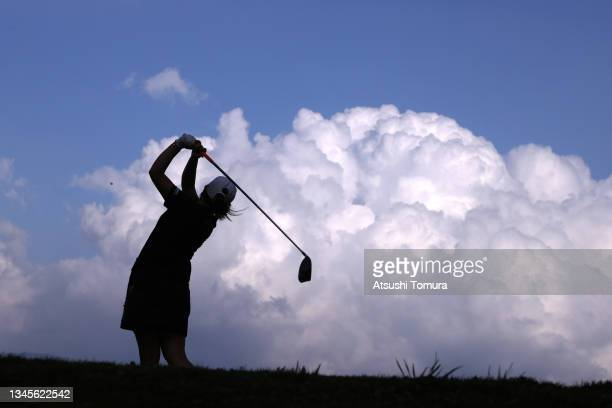 Mika Miyazato of Japan hits her tee shot on the 15th hole during the second round of the Stanley Ladies at Tomei Country Club on October 9, 2021 in...