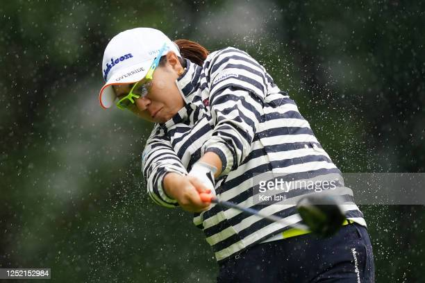 Mika Miyazato of Japan hits her tee shot on the 1st hole during the first round of the Earth Mondamin Cup at the Camellia Hills Country Club on June...
