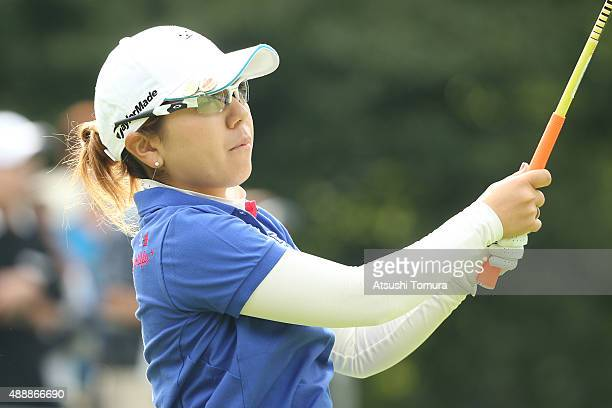 Mika Miyazato of Japan hits her tee shot on the 1st hole during the first round of the Munsingwear Ladies Tokai Classic at the Shin Minami Aichi...