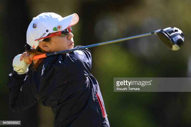 Mika Miyazato of Japan hits her tee shot on the 2nd hole during the first round of the KKT Cup Vantelin Ladies Open at the Kumamoto Kuko Country Club...