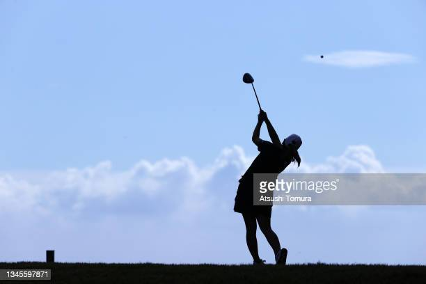 Mika Miyazato of Japan hits her tee shot on the 5th hole during the second round of the Stanley Ladies at Tomei Country Club on October 9, 2021 in...