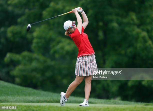Mika Miyazato of Japan hits her tee shot on the eighth hole during the second round of the US Women's Open Championship at Trump National Golf Course...