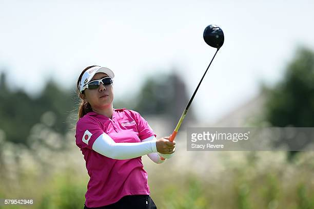 Mika Miyazato of Japan hits her tee shot on the fourth hole during the singles matches of the 2016 UL International Crown at the Merit Club on July...