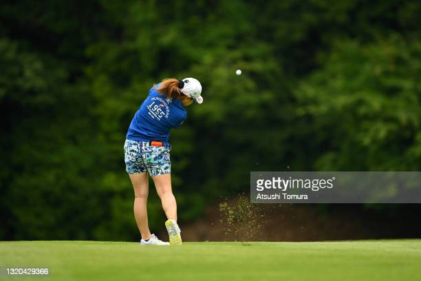 Mika Miyazato of Japan hits her third shot on the 11th hole during the second round of the Resorttrust Ladies at St. Creek Golf Club on May 28, 2021...