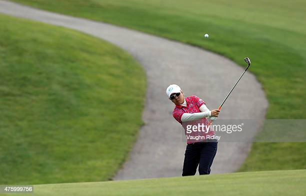 Mika Miyazato of Japan hits her third shot on the 12th hole during the second round of the Manulife LPGA Classic at the Whistle Bear Golf Club on...