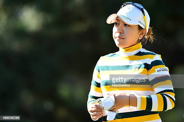 Mika Miyazato of Japan looks on during the first round of the TOTO Japan Classics 2015 at the Kintetsu Kashikojima Country Club on November 6 2015 in...