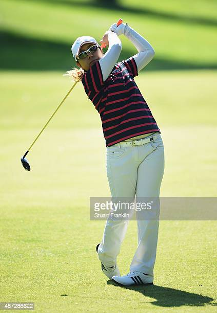 Mika Miyazato of Japan plays a shot during practice prior to the start of the Evian Championship Golf on September 8 2015 in EvianlesBains France