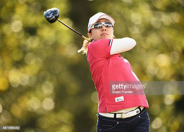 Mika Miyazato of Japan plays a shot during the first round of the Evian Championship Golf on September 10 2015 in EvianlesBains France