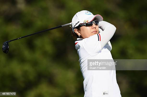 Mika Miyazato of Japan plays a shot during the third round of the Evian Championship Golf on September 12 2015 in EvianlesBains France