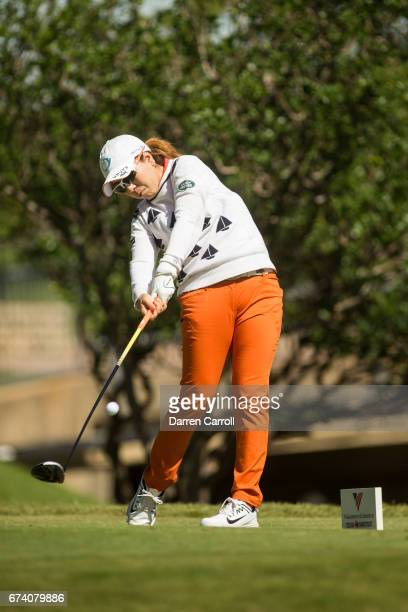 Mika Miyazato of Japan plays a tee shot at the second hole during the first round of the Volunteers of America North Texas Shootout at Las Colinas...